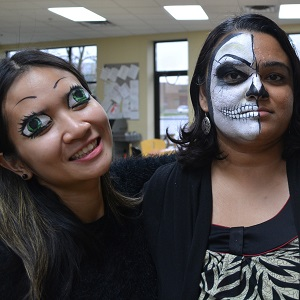 Halloween Skull With Friend Face Painting